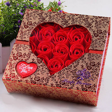 2017 New 25Pcs Scented Paper Rose Bath Soap Set Creative Gift Box For Valentine's Day Wedding Party Decoration(China)
