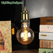 G95 Golden dimmable edison bulb led E27 spiral light amber retro saving lamp amber vintage filament bulb ampul lamp led 220V 4W(China)