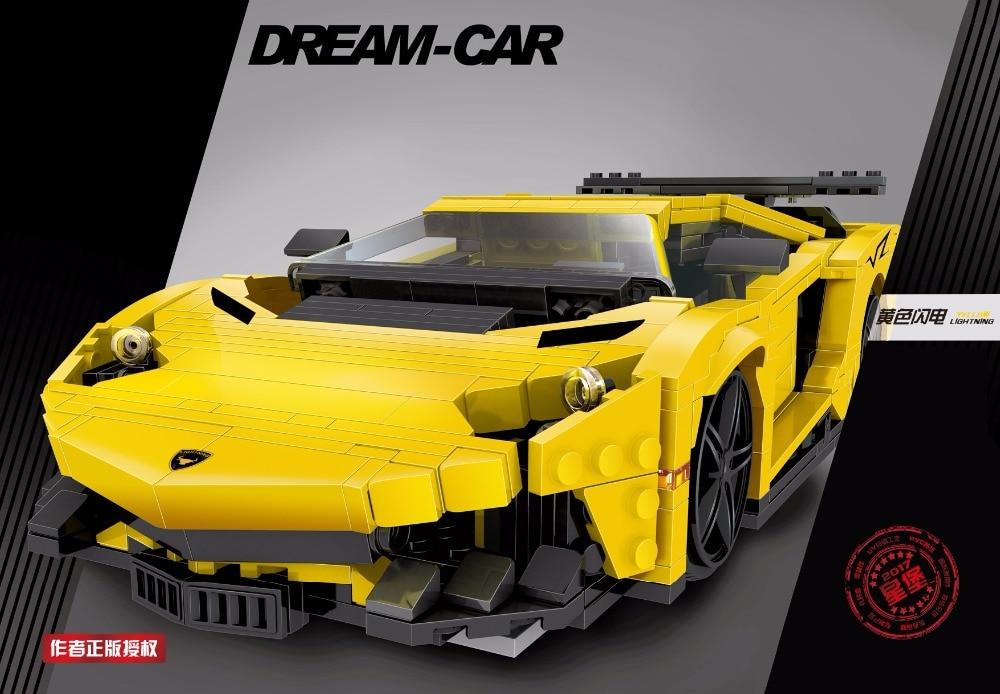 834pcs Yellow Racing Car Building Blocks DIY Action Figure Toys Gift For Kids