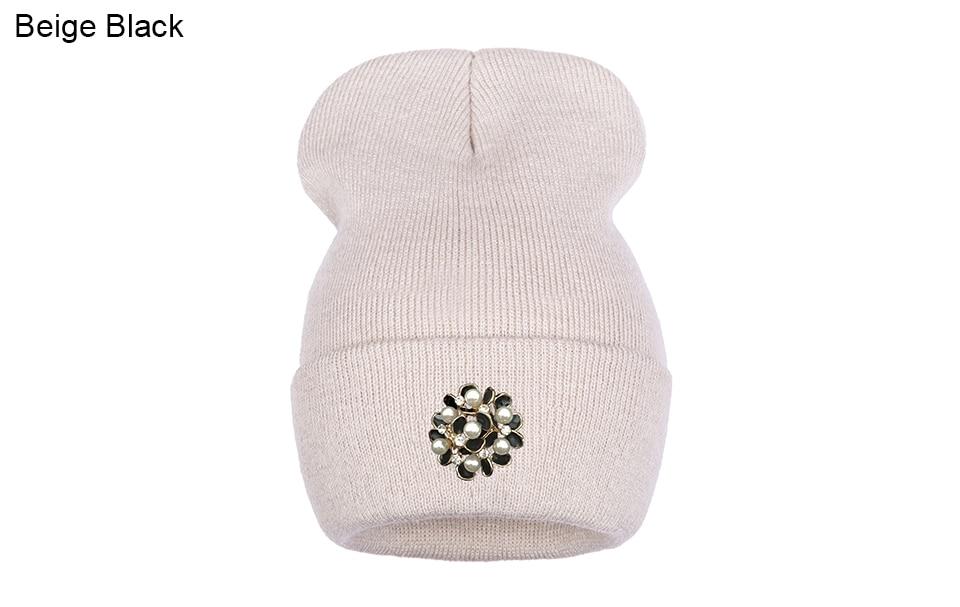 Ralferty Winter Hats For Women Flower Beanies Skullies Female bonnet femme gorros cappelli Cap Beanie gorra Black Acrylic Hat 18