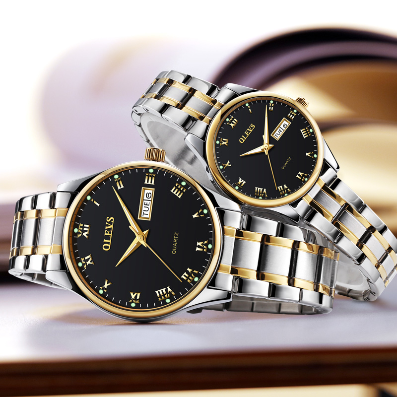 OLEVS Luminous Lovers Quartz Watches Luxury Gold Color Dial Leather Strap Ladies Wristwatches Steel Belt Woman Men Watch Clock<br>