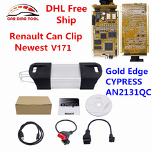 DHL Free Full Chip Renault Can Clip V171 Professional Diagnostic Interface Can Clip For Renault With Gold PCB CYPRESS AN2131QC