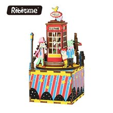 Robotime DIY Music Box Phone Booth Wooden Puzzle Handmade Miniature AM401(China)