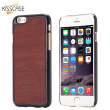KISSCASE Classic Brown Black Wood Skin Cover For iPhone 6 Plus Hard PU Leather Phone Case For Apple 6S Plus 5.5 Inch Phone Shell
