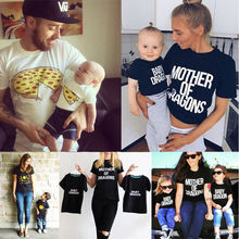 2017 Fashion Family Match Clothes Mother Father Son Baby Girls Boy Kid Shirt T-shirt Tops Short Sleeve Summer Clothes(China)