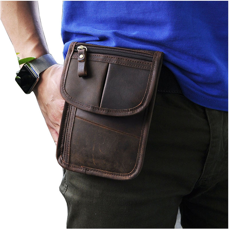 Thin simple Vintage Small Shoulder Messenger 7 inch Crazy horse leather Men Belt Waist Bags/wallet For Iphone<br><br>Aliexpress