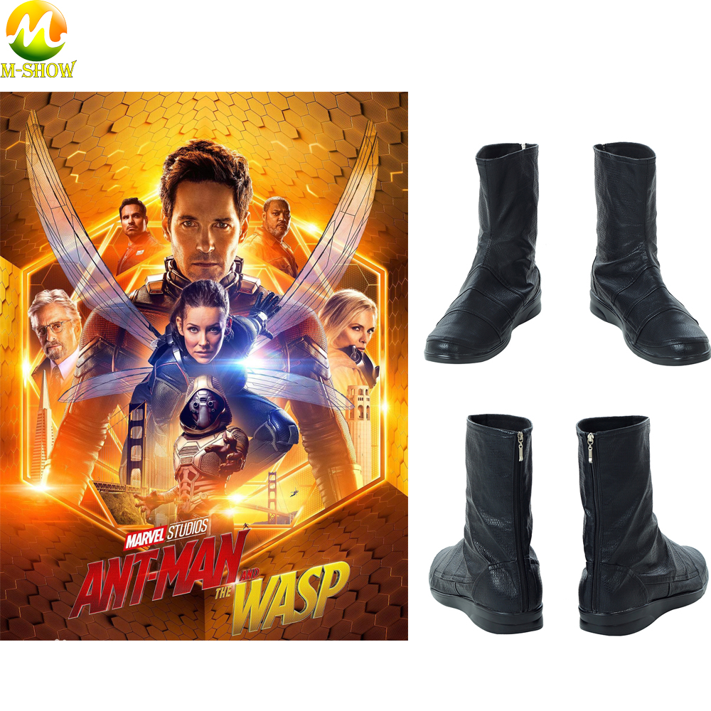 Ant-Man And The Wasp Cosplay Boots Antman Costume Men Back Zipper Boots Adult  Leather Black Shoes