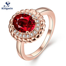 Newest design synthetic red gem cz zircon jewelry wholesale Pure Gold Color women rings color stone accessory