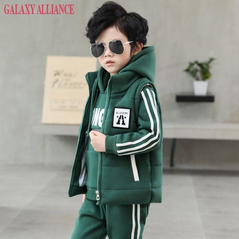 Boutique 3 piece set winter warm thick hoodies + vest + pants Boys casual Clothes Sets tracksuit children clothing high quality<br>