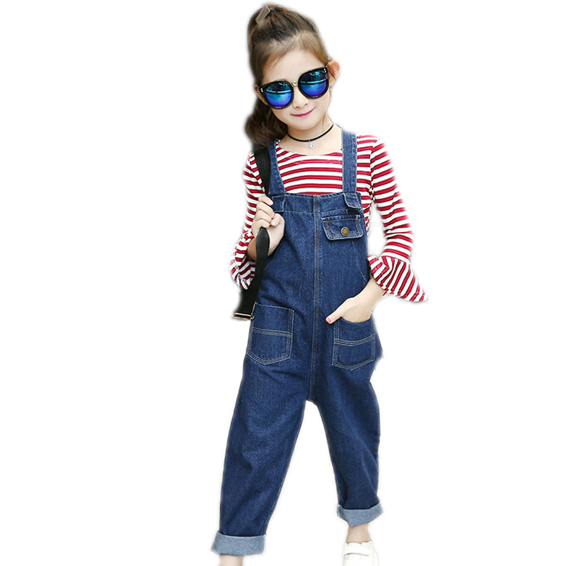 children clothing 2017 new autumn kids clothes striped Lotus leaf sleeves top shirts+ jeans Suspenders trousers 4-13T girl sets <br>