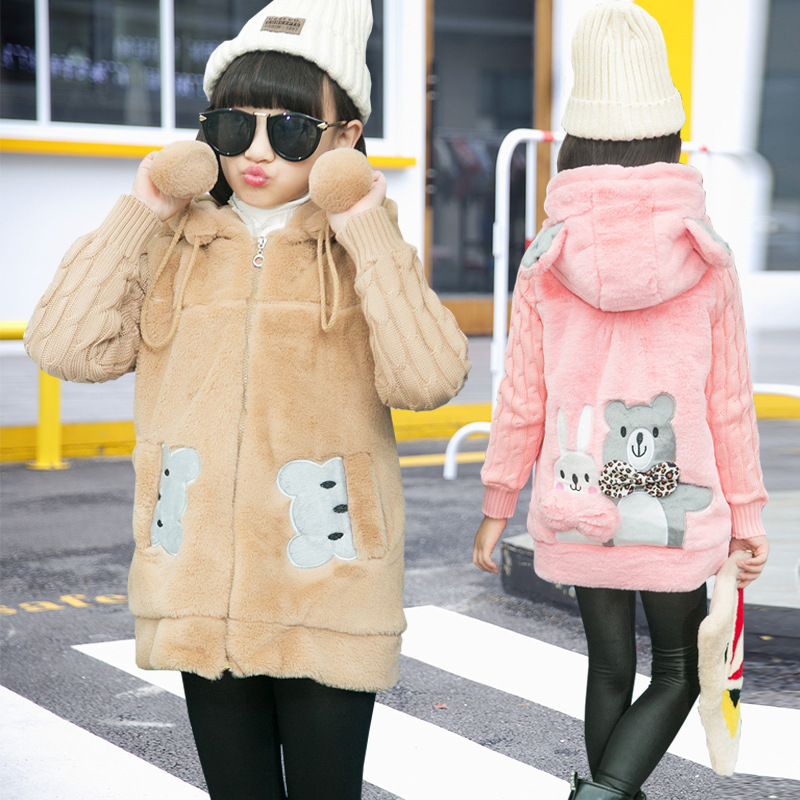 Big boy girl hair sweater faux fur coat autumn and winter thickening 5-7-12 year girl coat baby kids clothes teenager outwear<br>