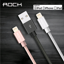 ROCK Metal MFI certified Lighting to USB Cable For iPhone 5 SE 6 6s plus iPad Nylon Braid Fibre fast charging iPhone Cable USB