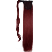 "TOPREETY Heat Resistant B5 Synthetic Hair Fiber 22"" 55cm Wrap around Clip in Ponytail Extensions(China)"