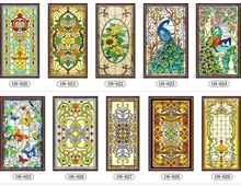 Decorative stained glass windows film custom wardrobe doors church stained glass christmas decorations for home 63x109cm(China)