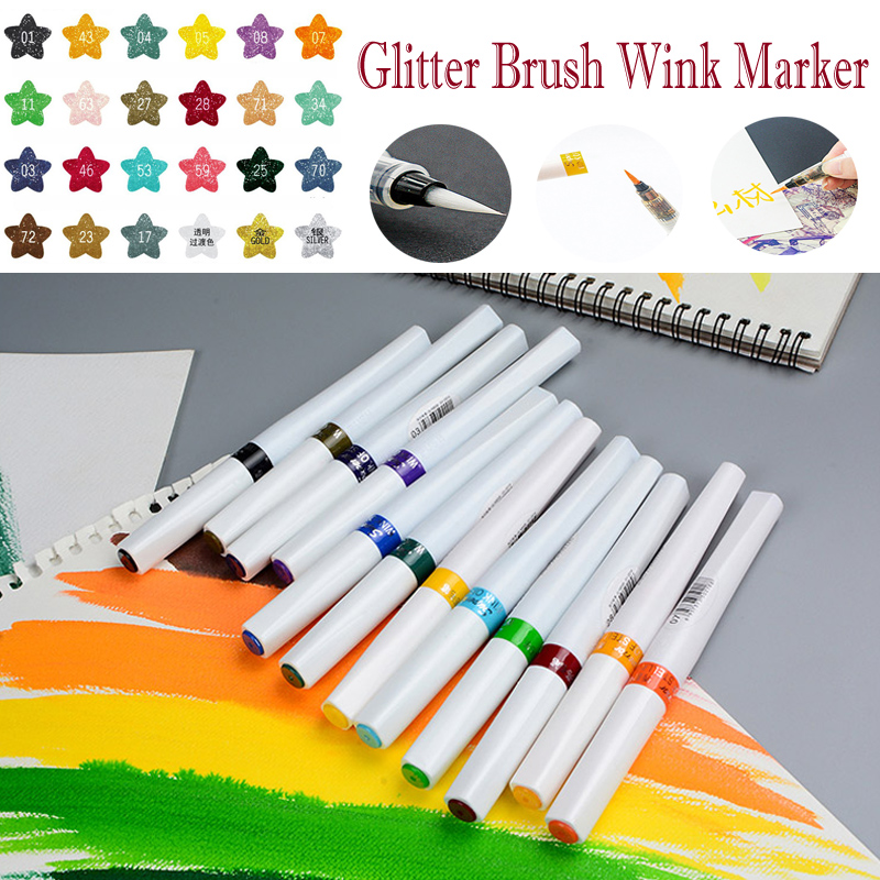 12/24 Colors Glitter Soft Nylon Sketch Marker Set Wink of Stella Brush Markers For Sparkle Shine To Lettering Stamping Project<br>