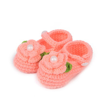 Flower Crochet Shoes for Baby Handmade Girls Crochet Booties Knitting Chaussure Fille Baby Prewalker Shoes 10 cm