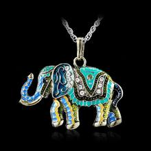 Vintage Retro Women Jewelry Accessories Unique Necklace gold color Elephant Pendant Exquisite Long Necklaces Silver Link Chain