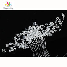 Bridesmaid Bridal Wedding Flower Sparkling Long Flexible Hair Comb Slide use Austrian Crystal CT1599