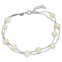 Bella Fashion 925 Sterling Silver Bridal Bracelet Ivory Pearl Bracelet For Women Wedding Party Jewelry Valentine Mother's Gift(China)