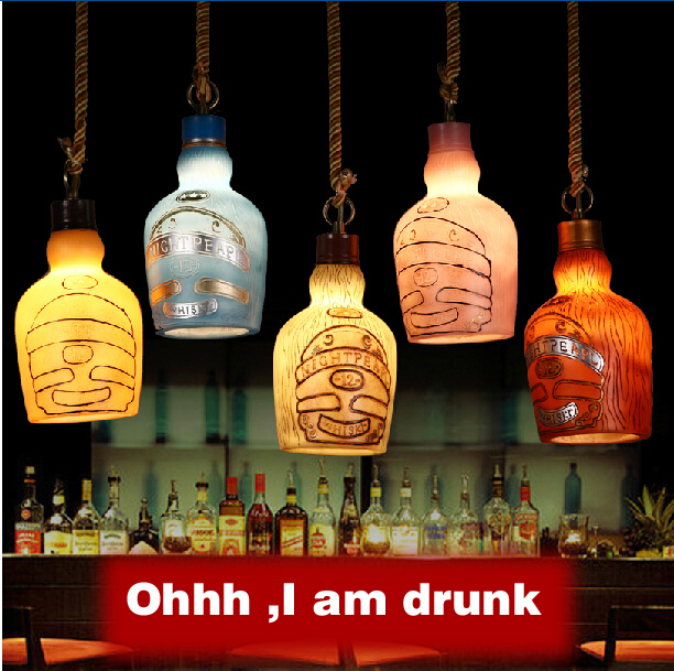 Bulb Freely American Retro Bar Environmental Resin Artificial Painting Small Beer Bottle pendant Lamp<br>