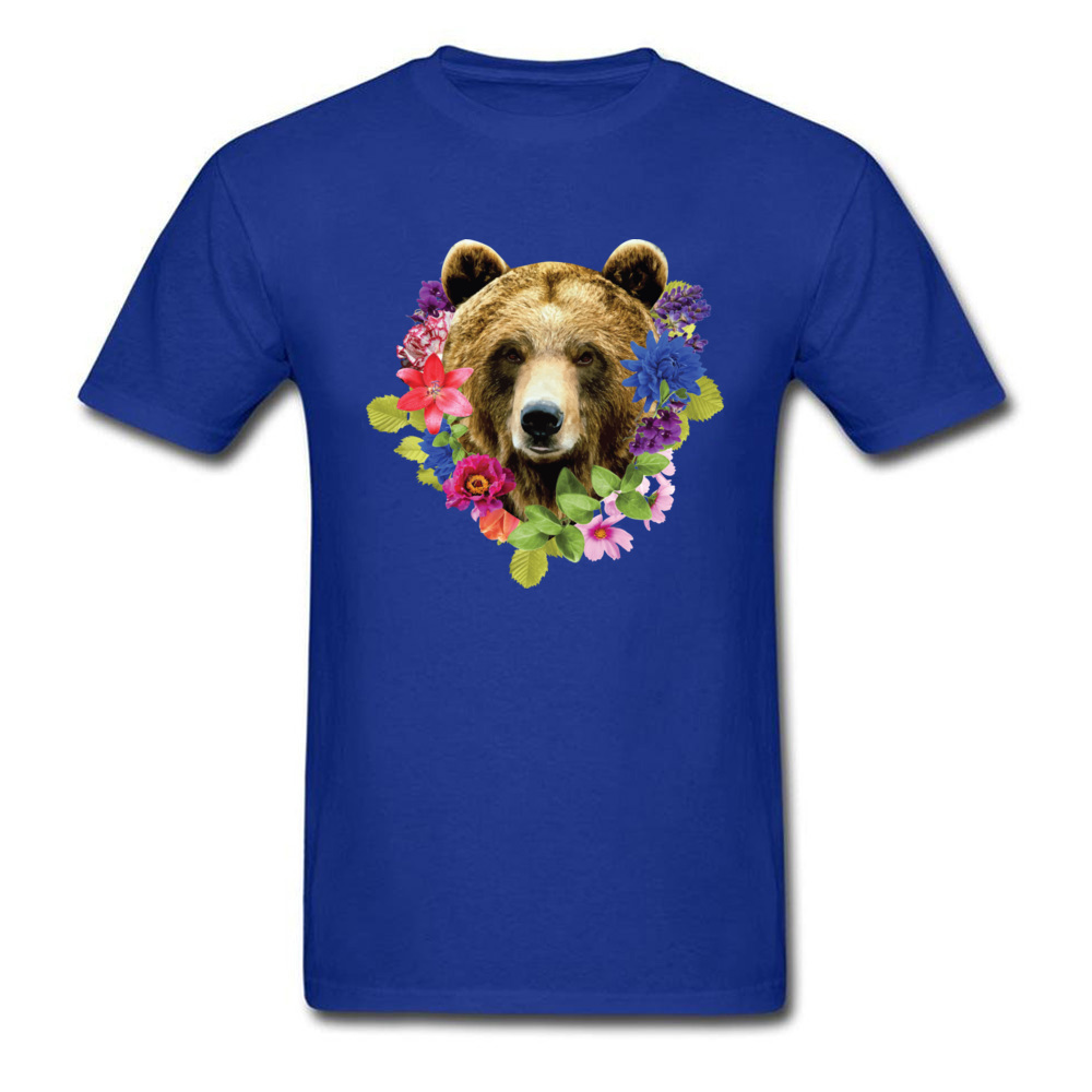 Floral Bearr Mens Fied Classic Tops T Shirt Round Collar Lovers Day Coon T-shirts Summer Short Sleeve Sweatshirts Floral Bearr blue