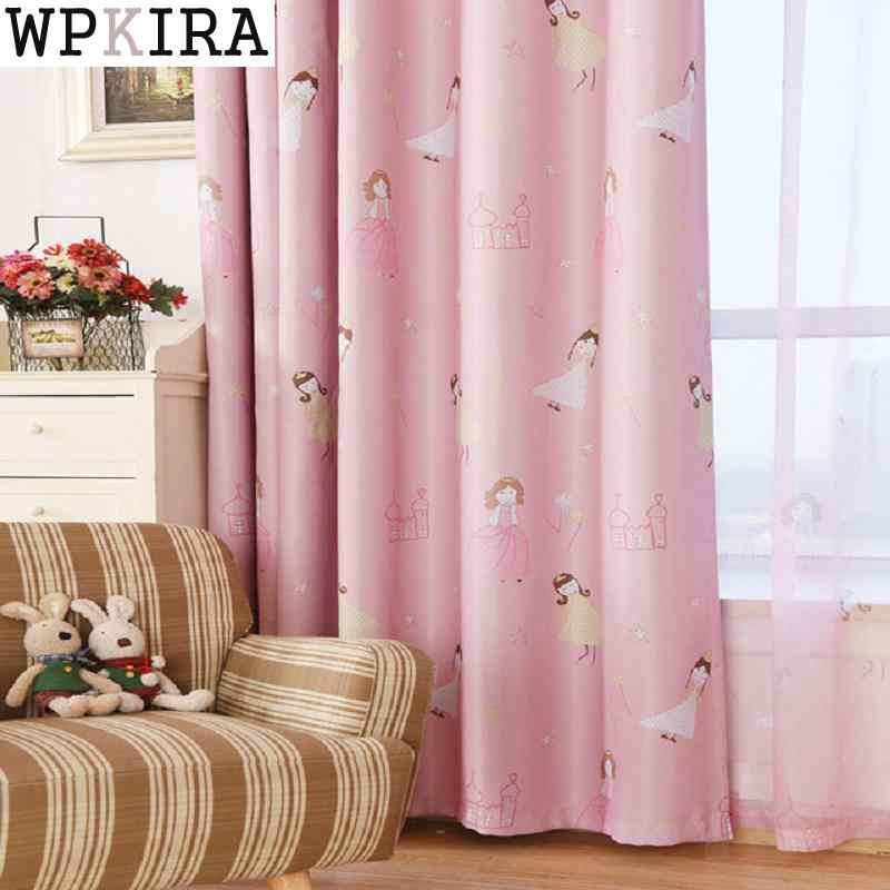 Pink Girl Cartoon Cat Curtains For Living Room Children Blackout Customized Finished Curtains For Baby Bedroom 139&30