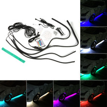 High Quality 4 Pcs  Multi Color RGB Flash LED Under Car Underbody Glow Neon Light Lamp Strip Wireless Control Remote