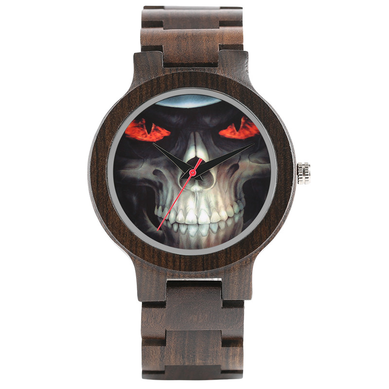 Fashion Cool Mens Hand-made Ebony Watch Skull Dial Wooden Watchband Bracelet Clasp Casual Luxury Wood Watch for Male Best Gift <br>