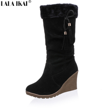 Thermal Plush Snow Boots Women Suede Tassel Platform Mid-Cylinder Mid-Calf  Boots Bowtie High Heels Botas de Mujer XWN0458-5