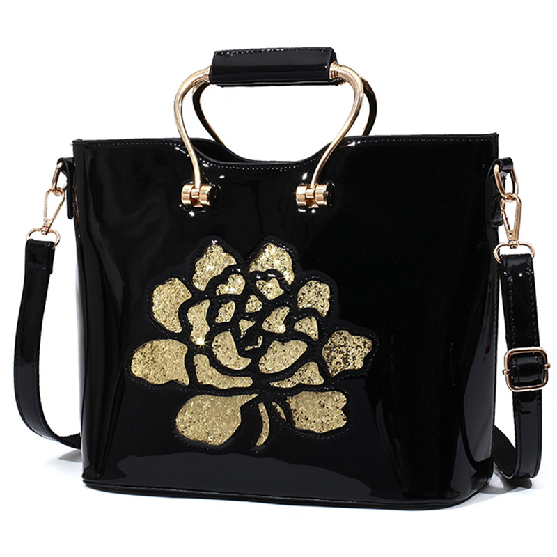 Red Black Luxury Sequin Rose Flower Hollow Out Women Bag Patent Leather Handbag For Woman Tote Bag Shoulder Bags Famous Brand<br><br>Aliexpress