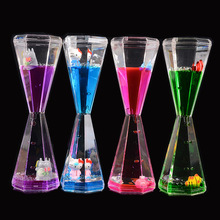 Floating Cartoon Prize Embedded Small Animals Oil hourglass time timer student crystal hourglass