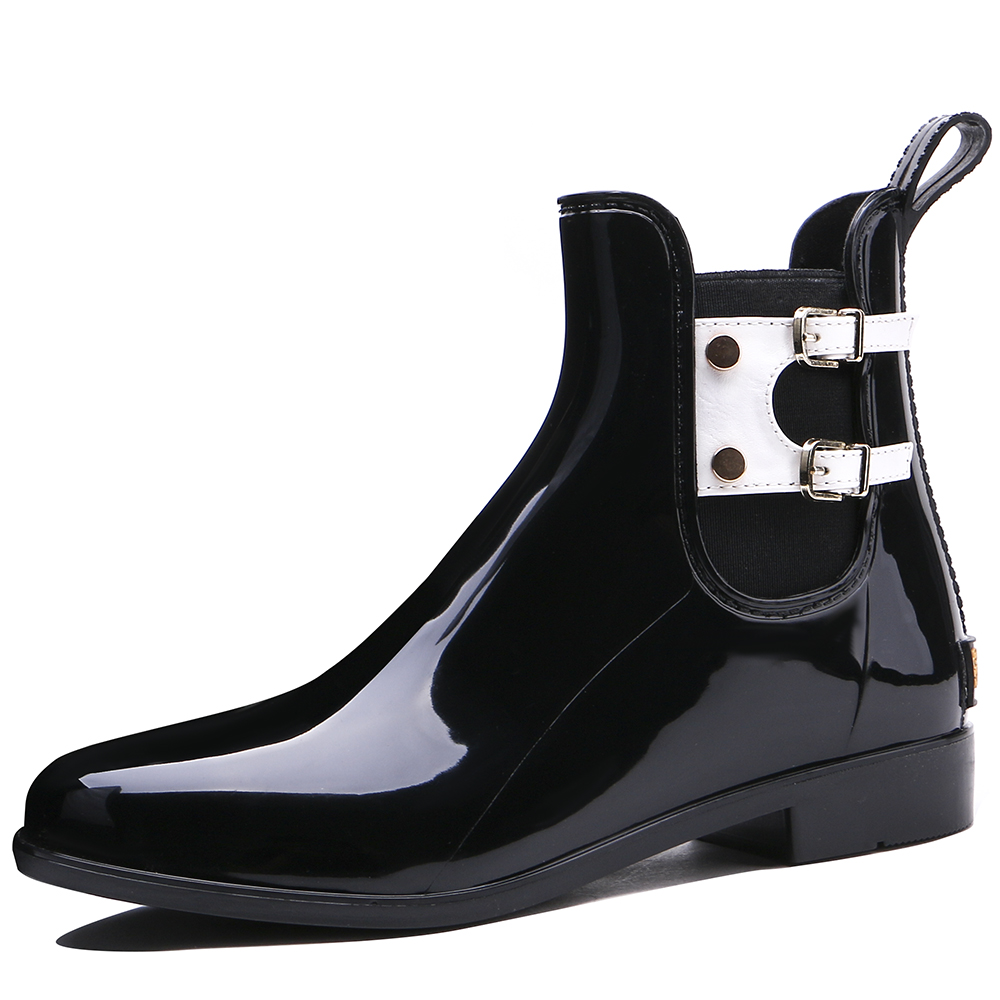TONGPU New Design Womens Low Heel Ankle High Glossy Surface Waterproof Outdoor Rain Boots 209-608<br>
