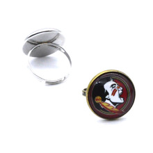 NCAA Florida State Seminoles Domed Glass Cabochon Cover and Brass Pad ring jewelry for DIY Portrait Ring Making