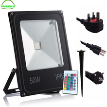 Led RGB Flood Lights with Remote Controller 220V Outdoor Floodlights with Spike 10W 20W 30W 50W  Garden Garage Lamp  EU Plug