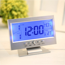 2 Colors Electronic LCD Alarm Desk Clock Voice Control Back-light Weather Monitor Calendar Clock With Thermometer 147*56*115mm(China)