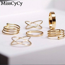 MissCyCy Hot Unique Ring Set Punk Gold Color Knuckle Rings for women Finger Ring 6 PCS Ring Set Best Selling 2016