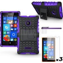 Mix Color Phone Cases For Nokia lumia 435 532 Hybrid Stand Rugged Armor Case Hard Cover Skin+Stylus+3 Pcs Screen Protector