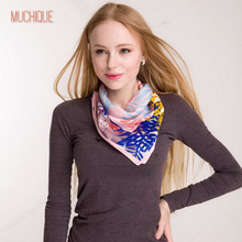 Muchique  Women Scarf  Neckerchief Square Scarves Ladies Bandana  Foulard Leaves & Horse Zebra Printed Scarfs