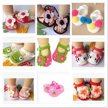 2017 New cute 20 styles baby moccasins boots floral christening girl baby crochet shoes owl animal Newborn boutique baby shoes(China)