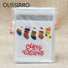 50Pcs Colorful Christmas Socks Plastic Cookies Packaging Bags Xmas Self Adhesive Gift Bag Candy Biscuit Gift Pouch Party Decor