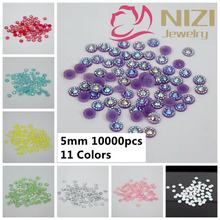 DIY Beads Flatback Jelly AB Color 5mm 10000pcs/lot Round 3D Nail Art Decorations Sunflower Design Resin Rhinestones For Nails(China)