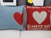 red love pillow ,wedding Heart cushion ,Linen pillowcase,cushion home decor sofa cushion decorative Pillows