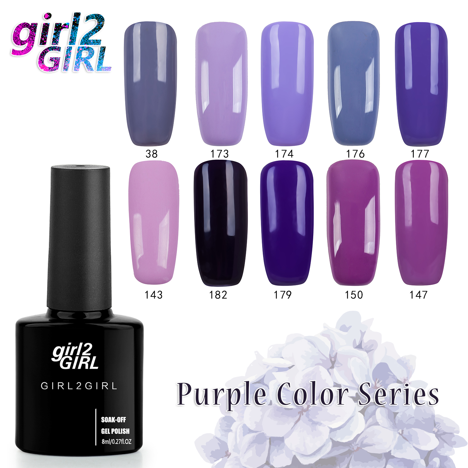 girl2GIRL Gel varnish NAIL GEL UV POLISH 280 Colors High Quality Long-lasting 8 ML Soak-off   PURPLE set