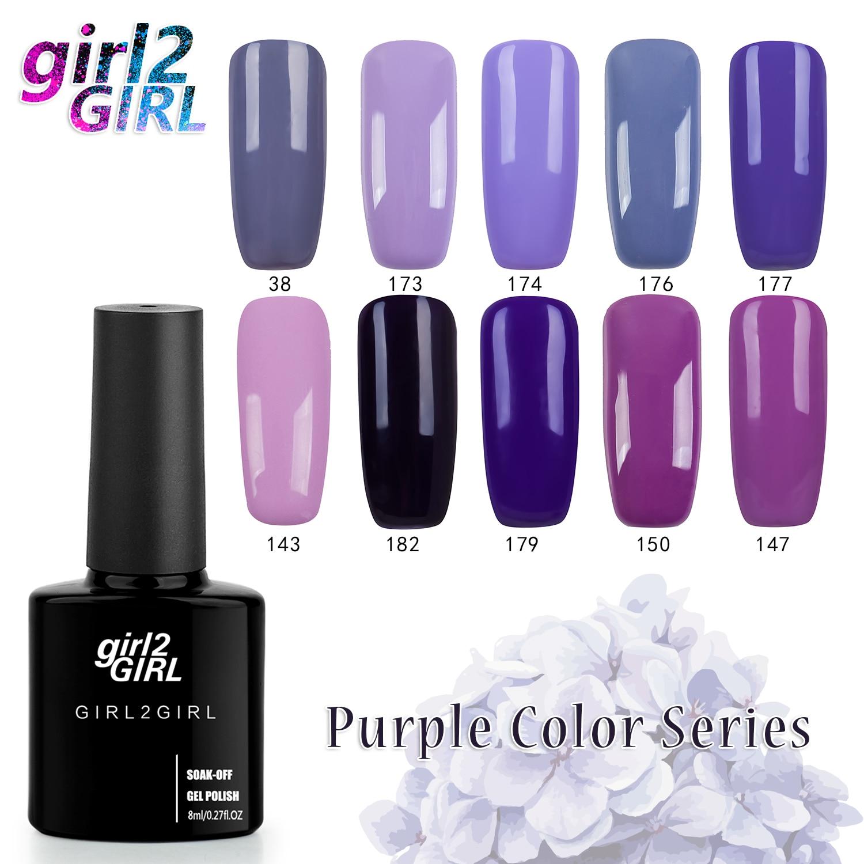 girl2GIRL Gel varnish NAIL GEL UV POLISH 280 Colors High Quality Long-lasting 8 ML Soak-off   PURPLE set