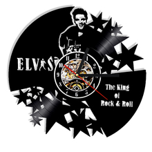 1Piece The King Of Rock & Roll Elvis Vinyl Record Laser Cut 3D Wall Clock Antique Wall Art Decor Unique Gift Idea For Music Fans