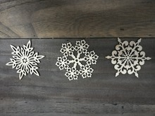 Wood Christmas Tree ornaments,snow shape, idea for Christmas tree and party decoration