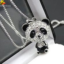 OPPOHERE Classical Women's Rhinestone Moving Head Panda Pendant Sweater Chain Necklace