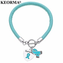 KEORMA new products stainless steel OT buckle silver heart-shaped engraved letter Survivor and ribbon charm bracelets for women(China)