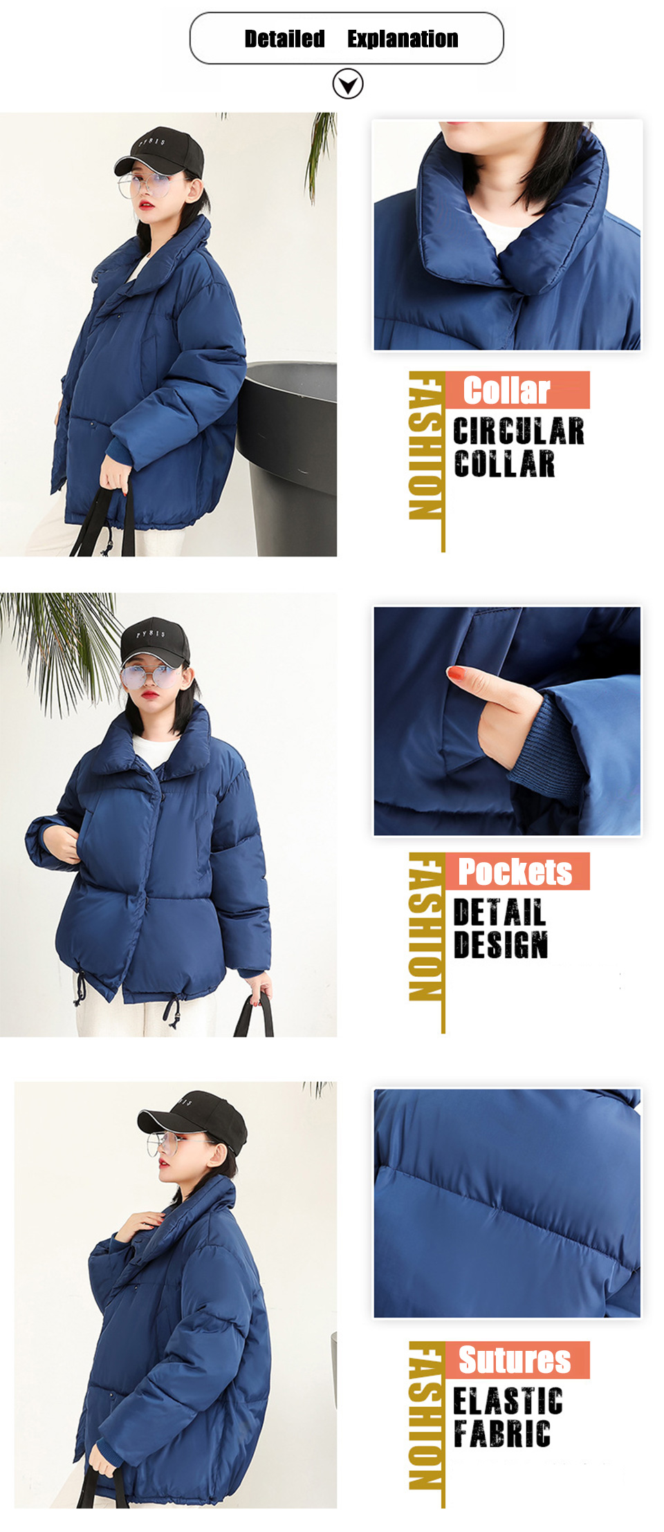 Autumn Winter Jacket Women Parkas Mujer 19 Fashion Coat Loose Stand Collar Jacket Women Parka Warm Casual Plus Size Overcoat 5