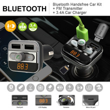 Bluetooth FM Transmitter Handsfree Phone Calling Car Kit MP3 Player with TF Card Slot Dual USB Port Car Charger for iPad iOS(China)
